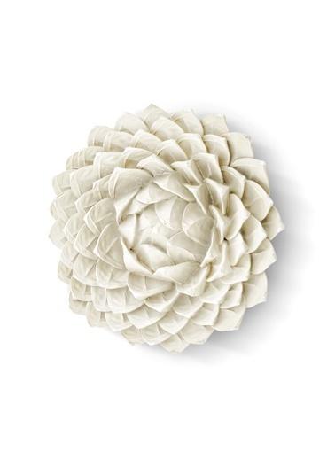 The Mia Duvar Dekoru Çiçek - 26 Cm Eskitme Beyaz Beyaz